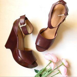 Nine West burgundy ankle strap wedge sandals 7.5